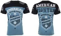 AMERICAN FIGHTER Mens T-Shirt GRADUATE Athletic BLUE BLACK Biker Gym MMA $40