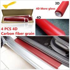 4x Red 4d Carbon Fiber LOOK Car Door Plate Sill Scuff Cover Anti-scratch Sticker