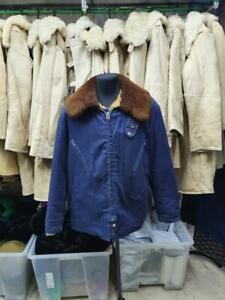 Military Jacket Fur Russian Army Pilot man overcoat Bushlat Winter Soviet Coat