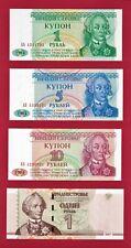 Transnistria Unc Notes: 1 Ruble (P16), 5 (P17), 10 (P18) & 1 Ruble 2007 (P-42)