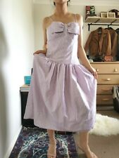 Vtg 70s 80s prom dress in lavender strip size 12fully lined Halloween costume