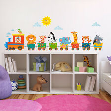 R00415 Wall Stickers Adesivi Murali Camerette Trenino animaletti 120x30 cm