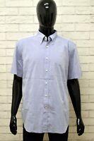 Camicia Uomo HART & BROS Taglia XL Maglia Chemise Shirt Man Blu Manica Corta