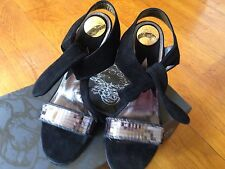 New Miss Sixty Stilettos Sandals Black Suede Heels Party Soes EU40