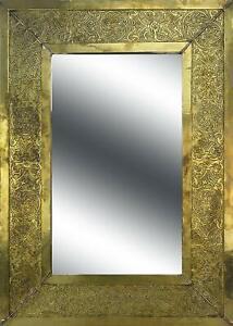Large gold Rectangular Moroccan Mirror floral design 70x50 cm