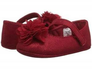 Baby Deer Red Sparkle Shimmer Mary Jane Shoes with Flower  Baby Size 0 1 2