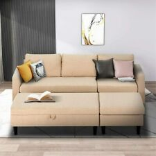 Sectional Sofa Couch L Shaped Couch Sleeper with Storage Ottoman 2 Colors