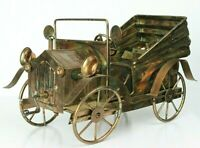 """Tin Lizzy Model Antique Car Made Of Coppertone Metal With Music Box 11"""" Long"""