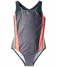 Speedo Girls Color Block Infinity Splice Swimsuit 10 Grey