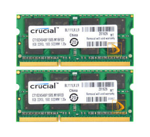 Crucial 16GB 2X 8GB PC3L-12800 DDR3L-1600MHz 204Pin SoDIMM Laptop Memory RAM