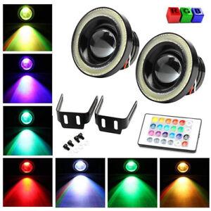 "2x 3"" 30W RGB COB LED Fog Light Projector Angel Eye Halo Ring DRL Driving Lights"