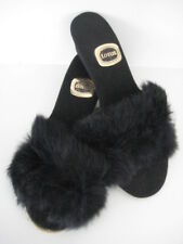 LOTUS VINTAGE RETRO SEXY BLACK OPEN TOE FLUFFY FUR MULE SLIPPERS MADE UK size 6