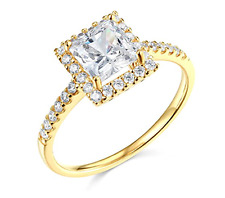 1.90 Ct Princess Cut Halo Engagement Wedding Promise Ring Real 14K Yellow Gold