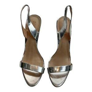 Schutz Womens Luriane Silver Slingback Stiletto Heels Size 8