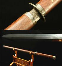 "40"" 1095 CARBON STEEL UNOKUBI-ZUKURI  BLADE JAPANESE STRAIGHT SWORD ROSEWOOD"