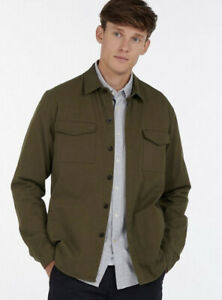 Barbour Mens Moorhouse Overshirt 100% Cotton Olive Green Size Extra Large XL