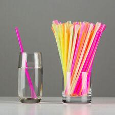 200 Neon Spoon Straws 20cm Cocktail Straw Plastic Drinking Milkshake Smoothies