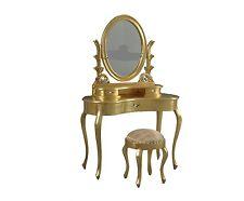 toilettina da camera tutta in legno massello finitura in foglia oro