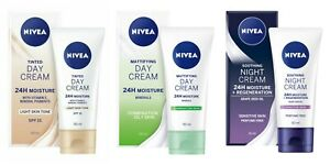 Nivea 24H Moisture Cream: Tinted Day SPF 15 / Skin Mattifying / Soothing Night