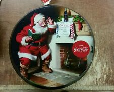 "COCA COLA COKE SODA RETRO SANTA CLAUS FIREPLACE 13"" ROUND TIN SIGN WALL HANGING"