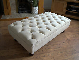 Chesterfield  Deep Button Large Footstool in  Casino Beige Fabric