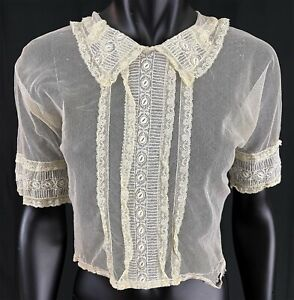 Vintage 1920s Cream Net Embroidered Lace Ruffle Trim Open Back Blouse Shirt Top