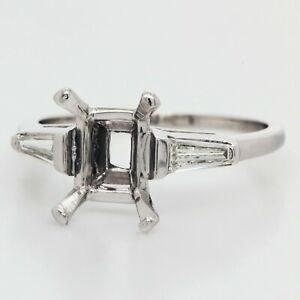 1/2 Carat Diamond Engagement Ring Setting in Platinum w/Baguettes