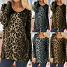 Women Leopard Print T-Shirt Ladies Long Sleeve Slim Casual Blouse Tops Plus Size
