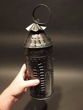 "13"" Vintage Antique Style Punched Tin Rolled Iron Candle Lamp"