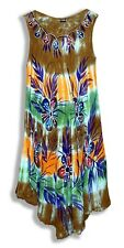 Hi-Lo TieDie Embroidered Floral Stamped Gauze Crinkle Tent Dress-Free Size MI*