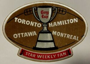 1950 Toronto Star Weekly CFL Grey Cup Fan Patch Canadian Football League