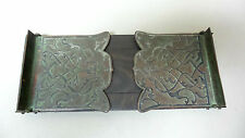 NICE ANTIQUE BRONZE & WOOD EXPANDABLE ART NOUVEAU BOOK RACK, VERDIGRIS FINISH
