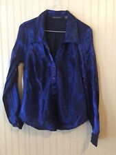 Blue Diamond Womans Large Long Sleeves Indigo color Button up Front Rayon/Polyes
