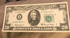 1963-A   STAR $20 Federal reserve note , Boston  district , Choice uncirculated