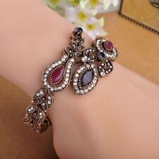 Women Turkish Exquisite Bracelet Bangle Indian Vintage Retro Blue Crystal Flower