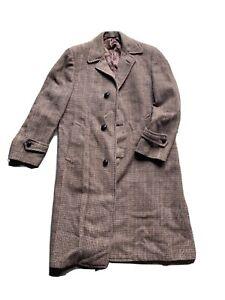 Vtg HARRIS TWEED OVERCOAT Trench FULL LENGTH COAT Jacket PURE SCOTTISH WOOL