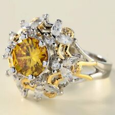 Beautiful Sunflower Engagement Ring With 3.87ct Round Citrine In 925 Pure Silver