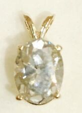 Women's Oval 1.70CTWhite Created Moissanite and Diamond 10K Yellow Gold Pendant