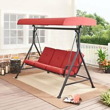 Porch Swing Forest Hills 3 Person Steel Red Black Adjustable Olefin Canopy New