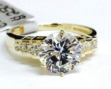 Solid 14K Yellow Gold Fancy Design Solitaire Engagement Ring Cubic Zirconia 8mm
