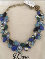 NWT J.Crew CRYSTAL Blue MIXED STONES Statement Necklace