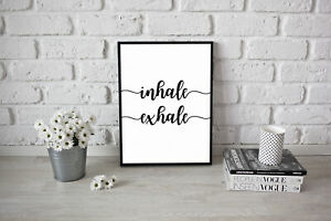 Inhale Exhale Poster Peaceful Yoga Meditation A4 A3 Quote Positive Inspiration