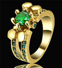 Lady's Size 6 Green Emerald Crystal Wedding Ring Women's 18Kt Yellow Gold Filled
