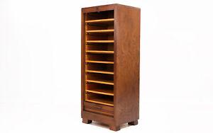 Art Deco Oak Tambour Haberdashery Office Filing Cabinet, 1940s