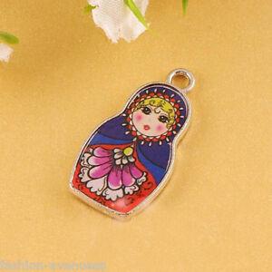 10Pcs Dark Blue Enamel Russian Doll Charm Pendant Necklace Jewelry Finding