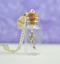 Believe In Fairies Glass Bottle Pendant Necklace, Girls Gift, Fairy Enchanted