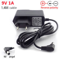 DC/AC 9V 1A Switching Power Supply adapter plug Reverse polarity Negative Inside