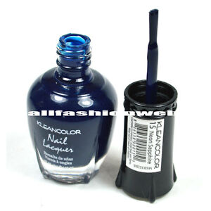1 Kleancolor Nail Polish Lacquer #15 Neon Sapphire Manicure - Free Shipping