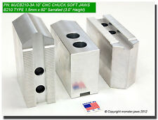 """10"""" Aluminum Soft Jaws 1.5mm x 60° Serrated for B-210 Type Lathe Chuck (3.0"""" HT)"""