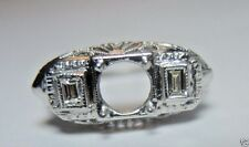 Antique Art Deco Diamond Engagement Setting Mounting 18K Hold 6MM Ring Size 6